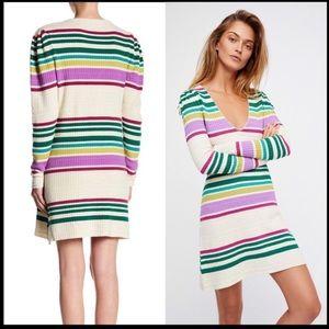 Free People Gidget striped knit sweater dress S